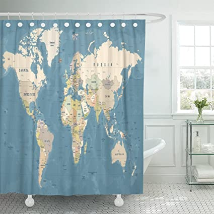 Emvency Shower Curtain Blue Country World Map High Detailed Of Worldmap Beige Vintage Continent Waterproof Polyester