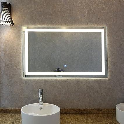 Tonffi Specchio luce LED Specchio bagno 100x60cm specchio da parete ...