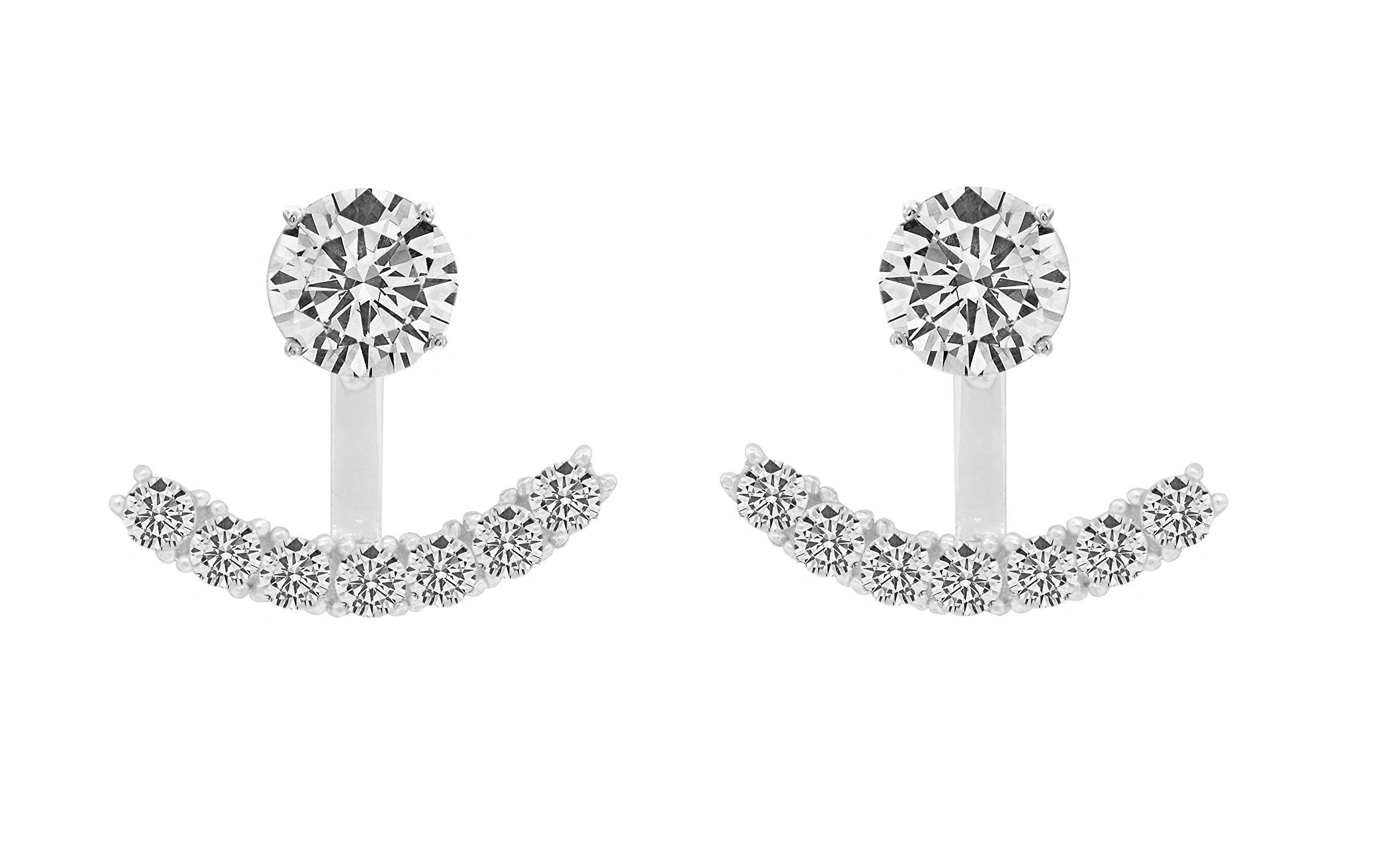 Sterling Silver Front Back 2 in 1 Cubic Zirconia AAA Quality Stud and Ear Jacket Cuff Earrings Set (White)