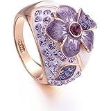 Yoursfs 18 k, placcato oro rosa, viola solitario di gemma australiano Anello di cristallo di matrimonio
