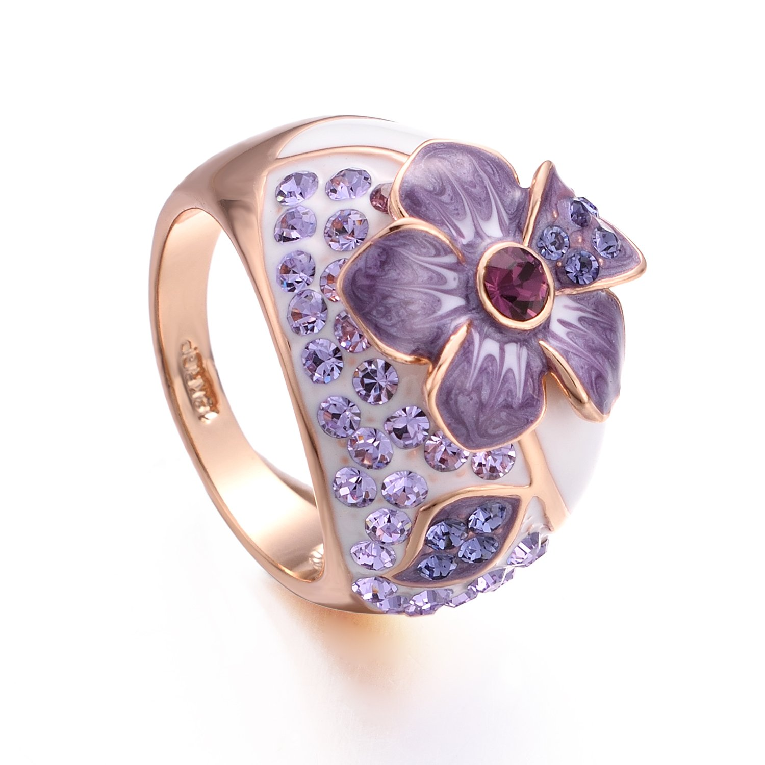 Yoursfs Fashion Women Ring Crystal 18K Rose Gold Plated Engagement Wedding Ring with Purple Flower Jewelry …