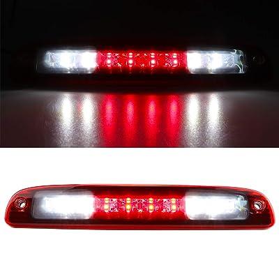 For 1997-2010 Dodge Dakota LED Third 3rd Brake Light Cargo Light Center High Mount Lamp Tail Light (Red lens): Automotive