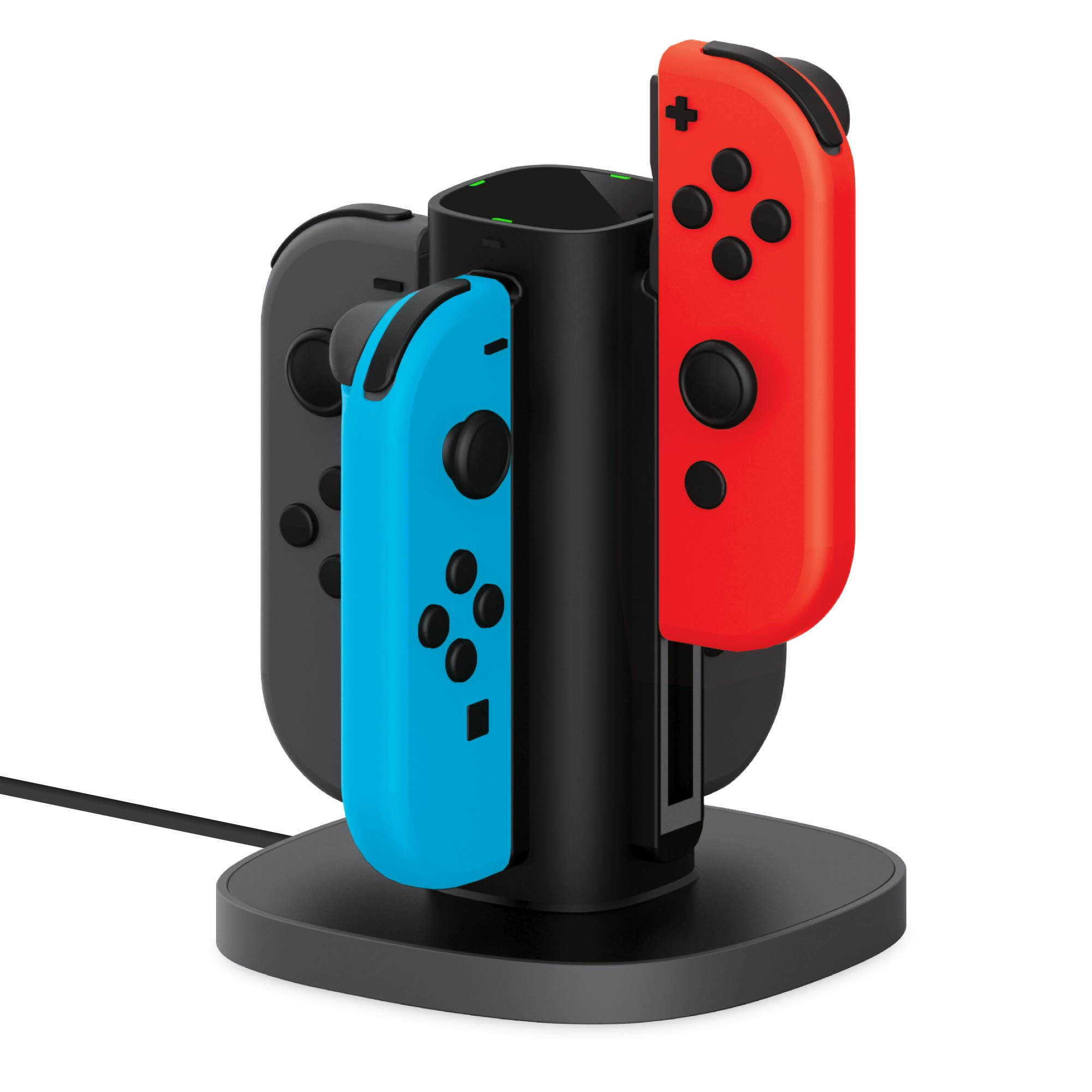 Joy Con Charging Dock for Nintendo Switch by TalkWorks | Docking Station Charges up to 4 Joy-Con Controllers Simultaneously - Controllers NOT Included (Black)