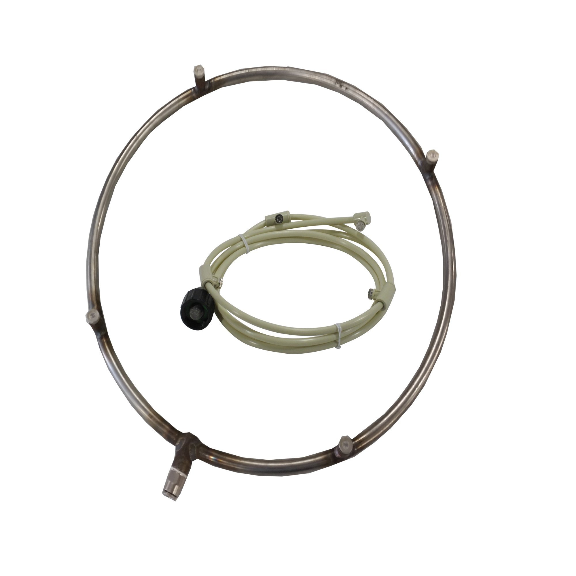 Mistcooling Misting Fan Ring - Stainless Steel Ring with Feed Line and Misting Nozzles - Ideal as Patio Misting system, for Warehouse Misting. can be used with Pump. (12'' Dia 4 Nozzles 6ft Line) by Mistcooling
