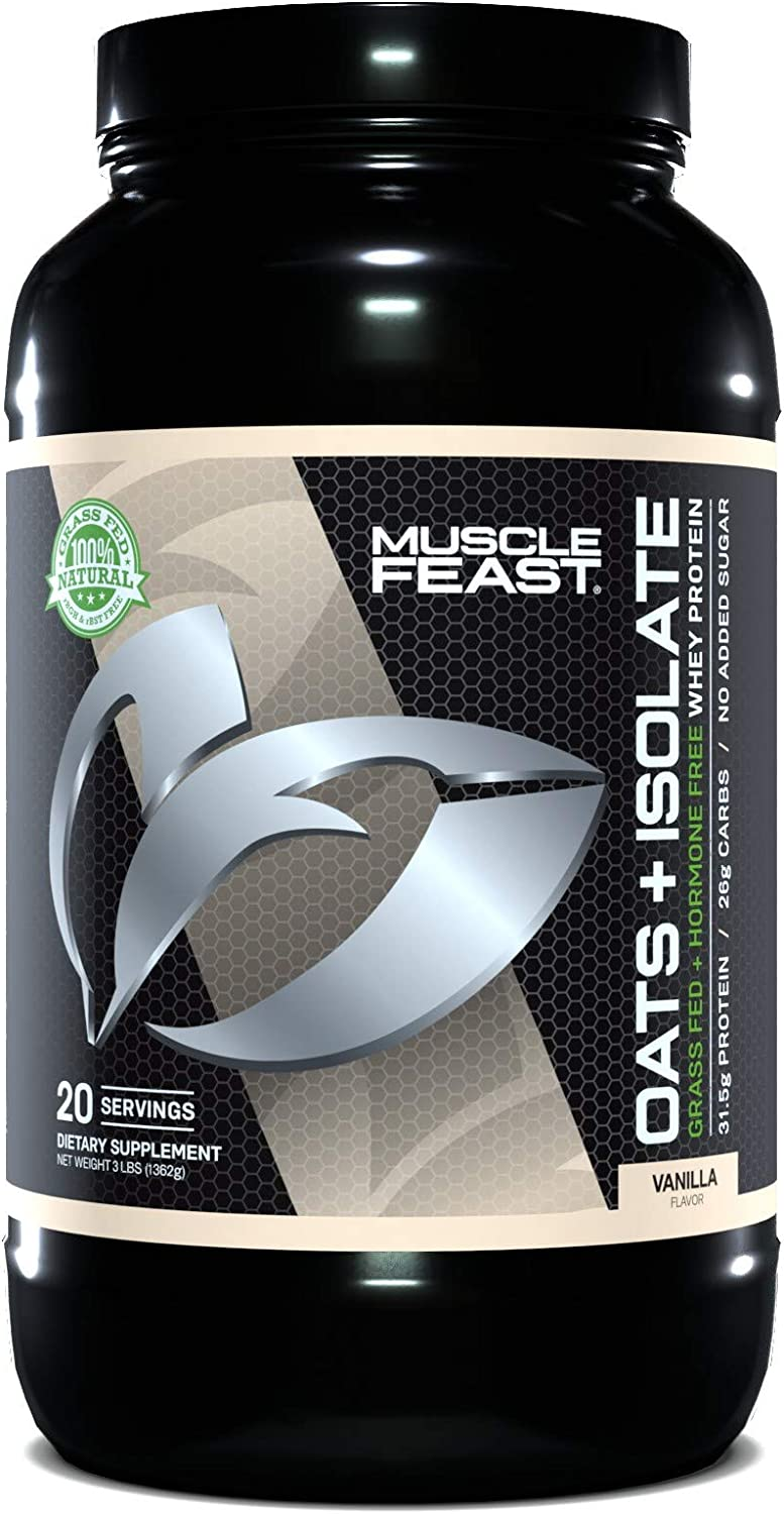 MUSCLE FEAST Oats + Isolate, Gluten Free Whole Oat Powder, Grass Fed Hormone Free Isolate, Natural, Kosher Certified, 31.5g Protein, 262 Calories (Vanilla, 3lb)