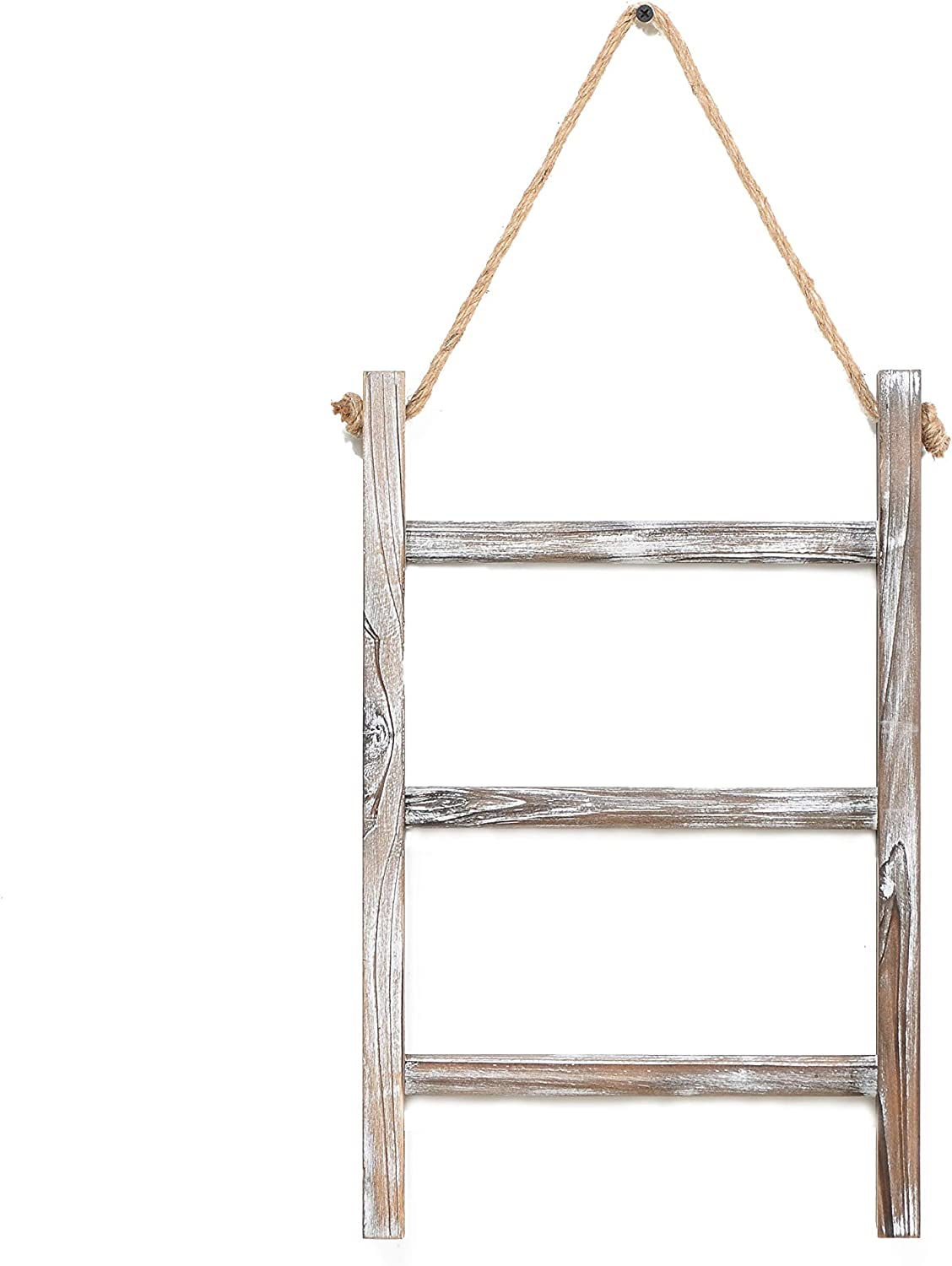 ZH & ART 3-Tier Wall-Hanging Hand Towel Ladder with Rope Rustic Wood Small Size 16 x 10 Inch Decorative Farmhouse Storage Hanging Kits Classic Vintage Countryside for Bathroom Kitchen