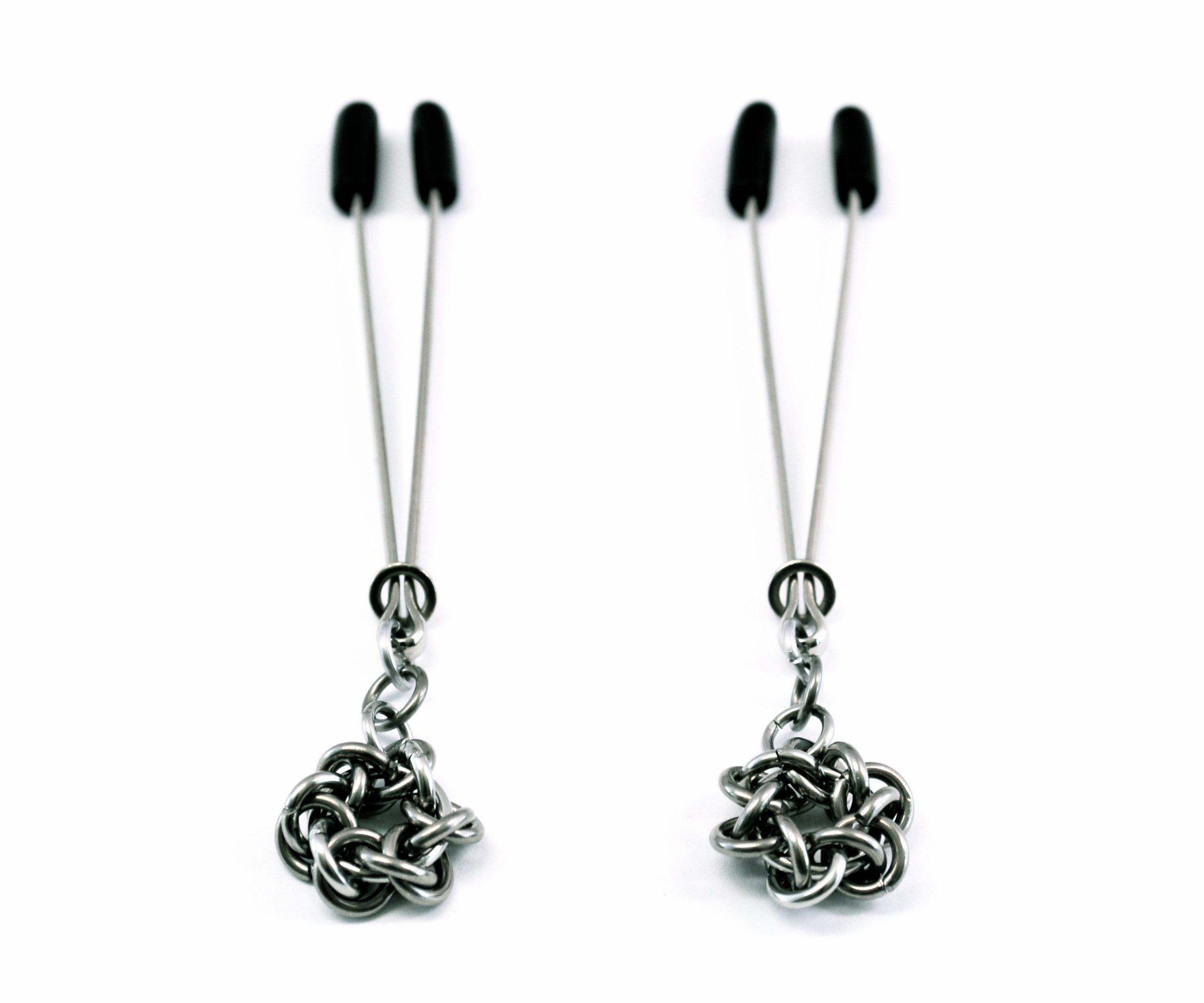 Pair of Twisting Star Amulet Nipple Clips | Designer Nipple Bondage Restraint Jewelry | by Sade Fantasy by Sade Fantasy