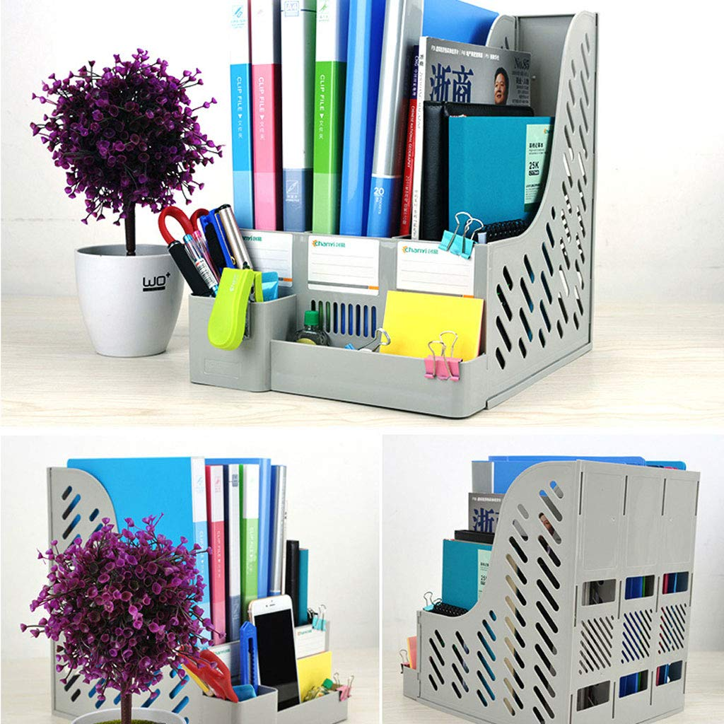 Duzhengzhou Archivo Estante de Documentos Organizador Titular Revista Clasificador Plástico Escritorio Caja Libro Estante Plástico Clasificador Almacenamiento 3 Ranuras DIY (Color : 2) eac898