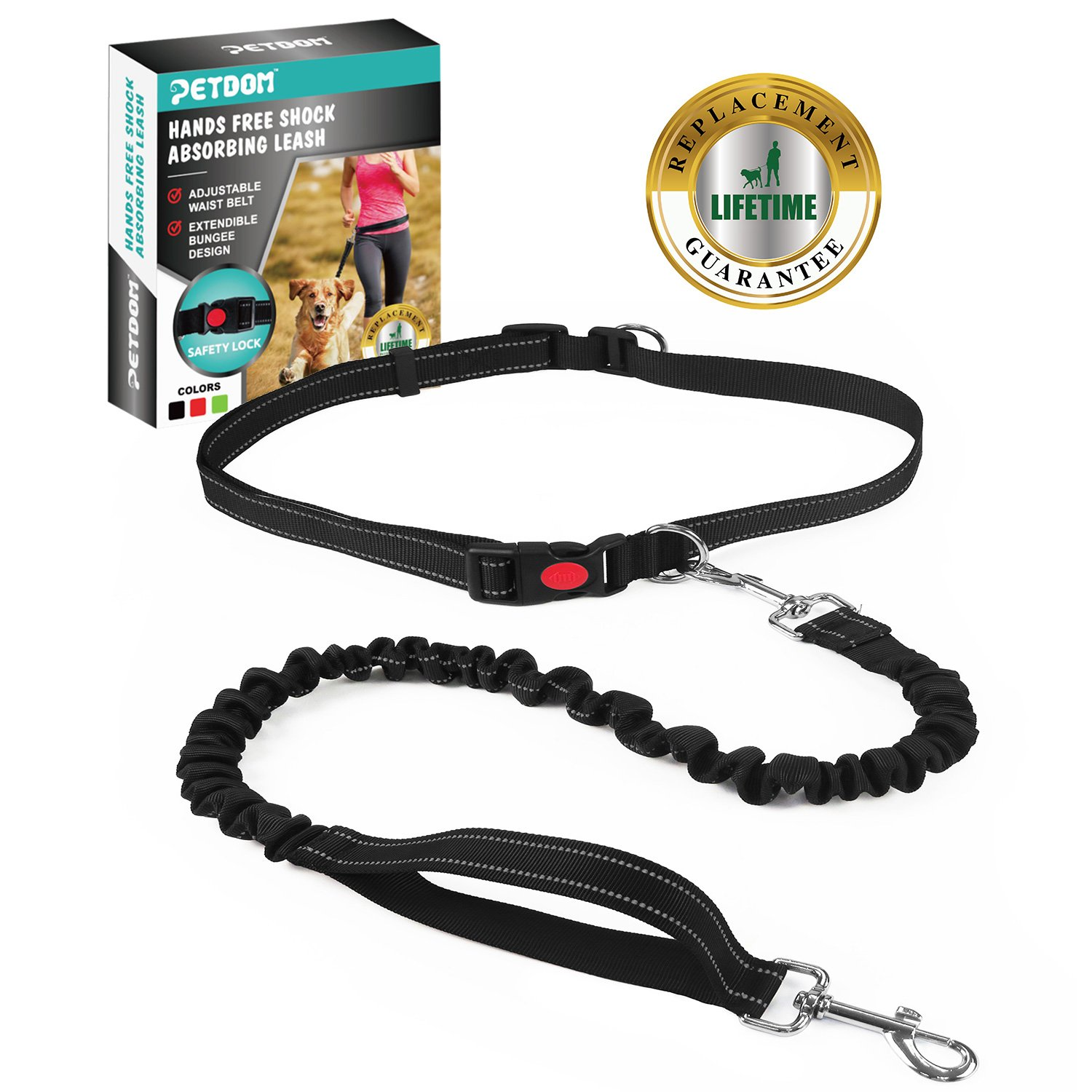 PETDOM Hands Free Dog Leash with Nylon Bungee, for Up to 90 lbs Dogs, Adjustable Waist Belt with Reflective Stitching for Running, Walking, Hiking(Black)