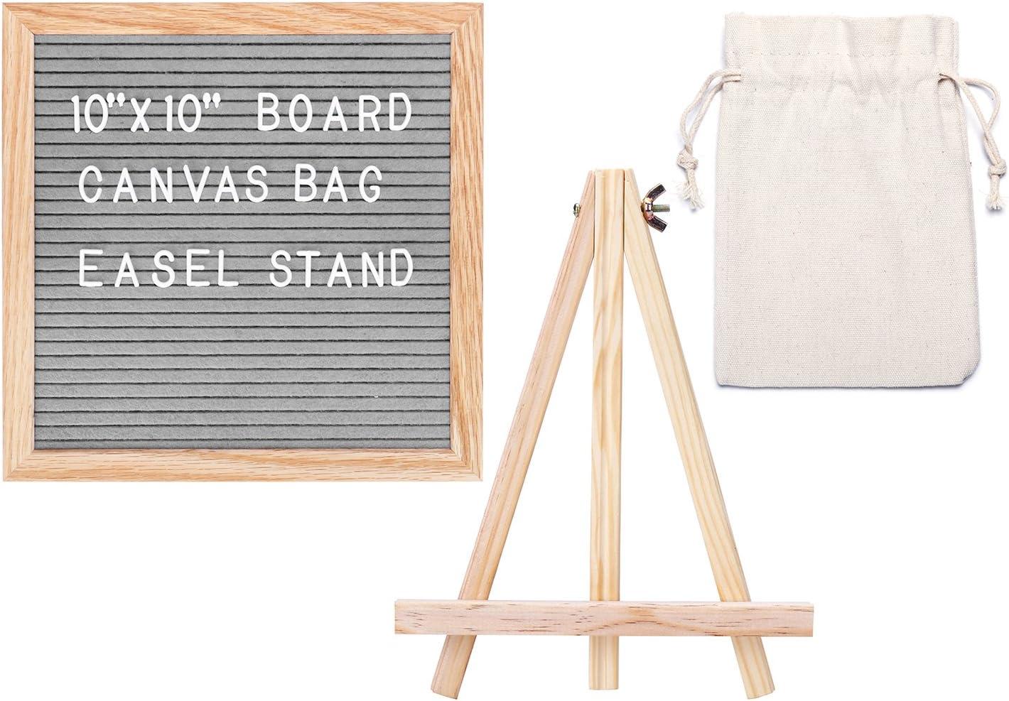 Rose Kuli Felt Letter Board 10x10 Inch Changeable Message Board 352 Letters Numbers Emoji Symbols with Solid Oak Frame Free Stand Scissor Canvas Bag