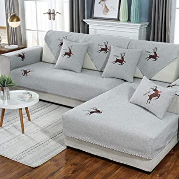 Amazon.com: Anti-slip Linen Sectional Couch Slipcover ...