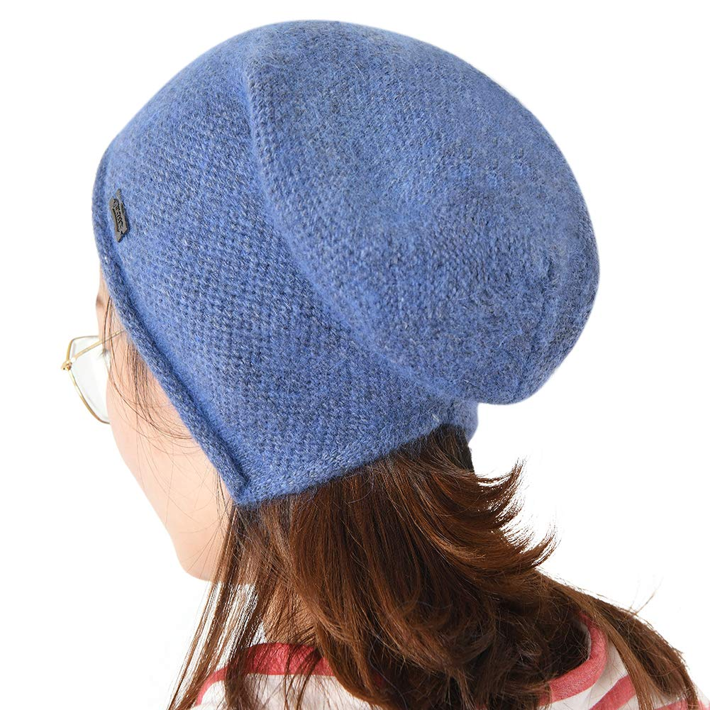 Denim bluee FURTALK Winter Knit Wool Slouchy Beanie for Women Cashmere Blend Hat Ski Cap