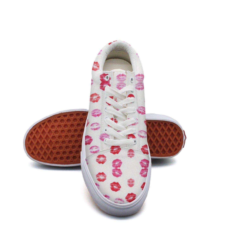 Ouxioaz Womens Canvas Shoe Kis Artwork Lips Work Shoe Laces