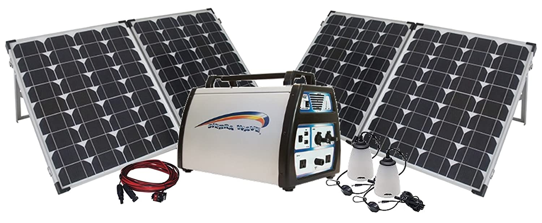 1500-Watt Solar Power Station with 1500-watt Lithium Generator, 80-watt Monocrystalline Folding Solar Panel with Case, Lamp & Extension PowerSurvival.com powerstation1500