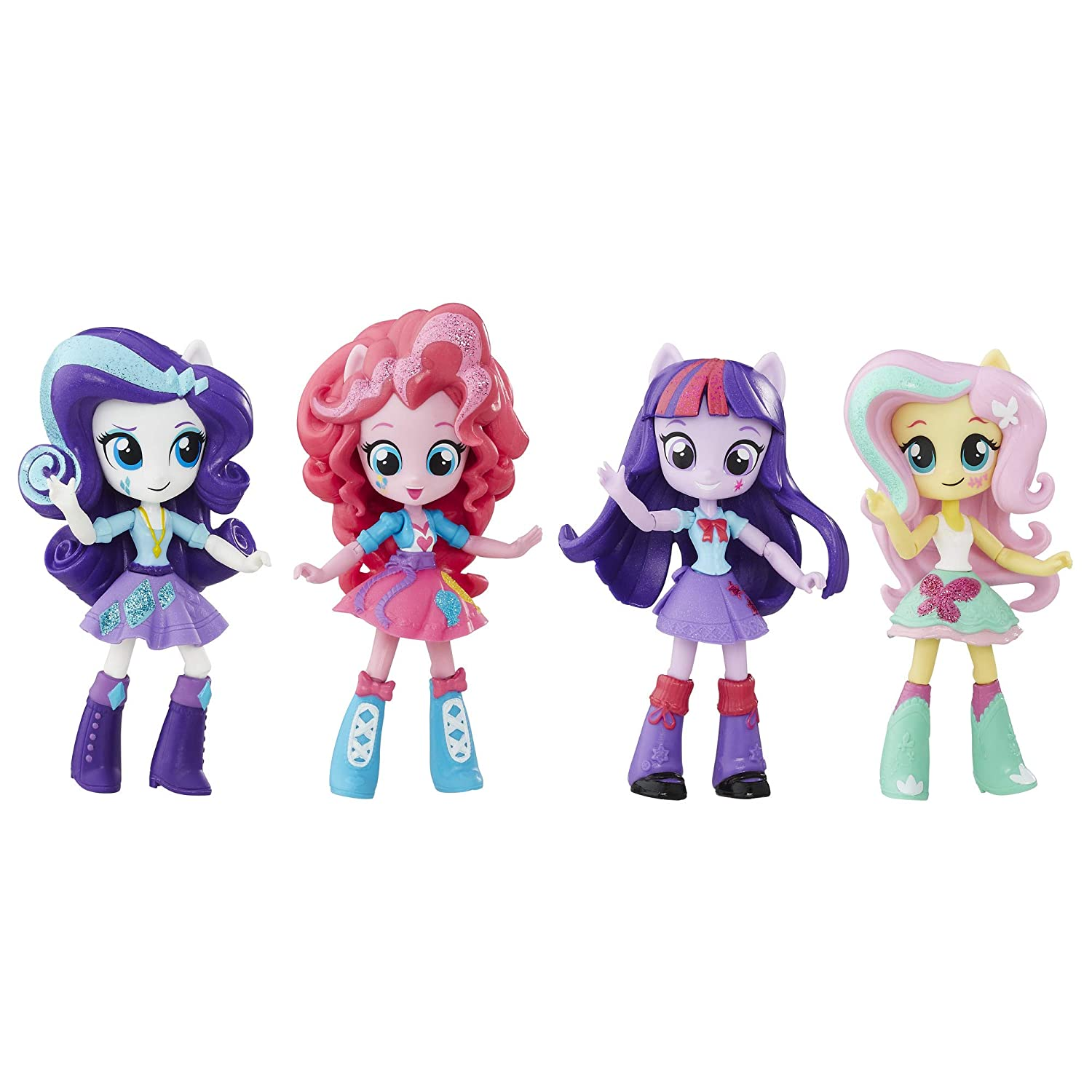 My Little Pony Twilight Sparkle, Pinkie Pie, Rarity & Fluttershy Toys - Equestria Girls 4.5-Inch Mini-Dolls, Ages 5 and Up