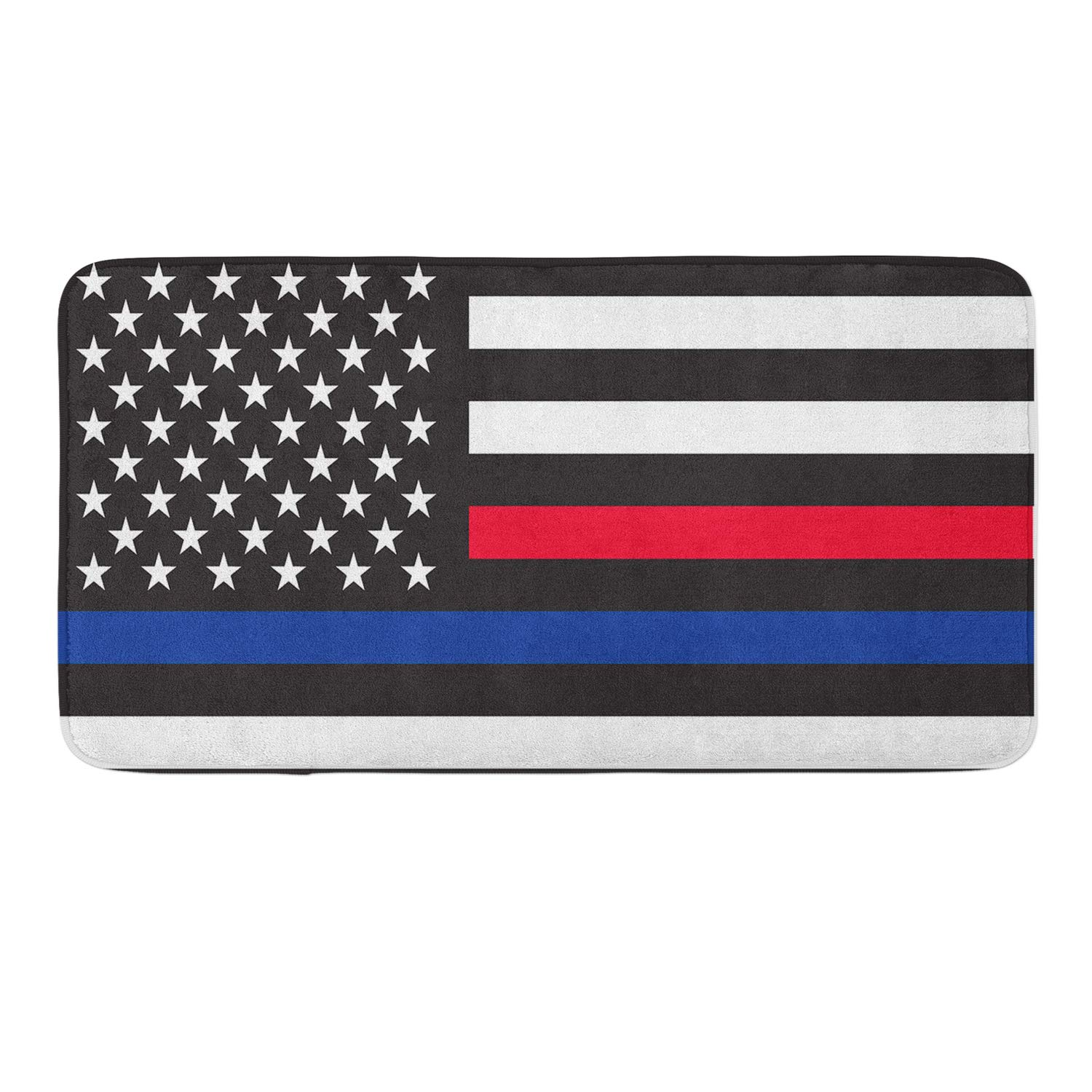 CIGOCI Memory Foam Non-Slip Bathroom Mat - 18 x 36 Inch, Extra Absorbent,Soft,Duarable and Quick-Dry Shaggy Mat, 3D PrintThin Blue Red Line American Flag by CIGOCI (Image #1)