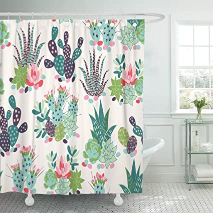 VaryHome Shower Curtain Cactus With Succulents And Cactuses Inky Trendy Tropical Design Flower Sketch Waterproof Polyester