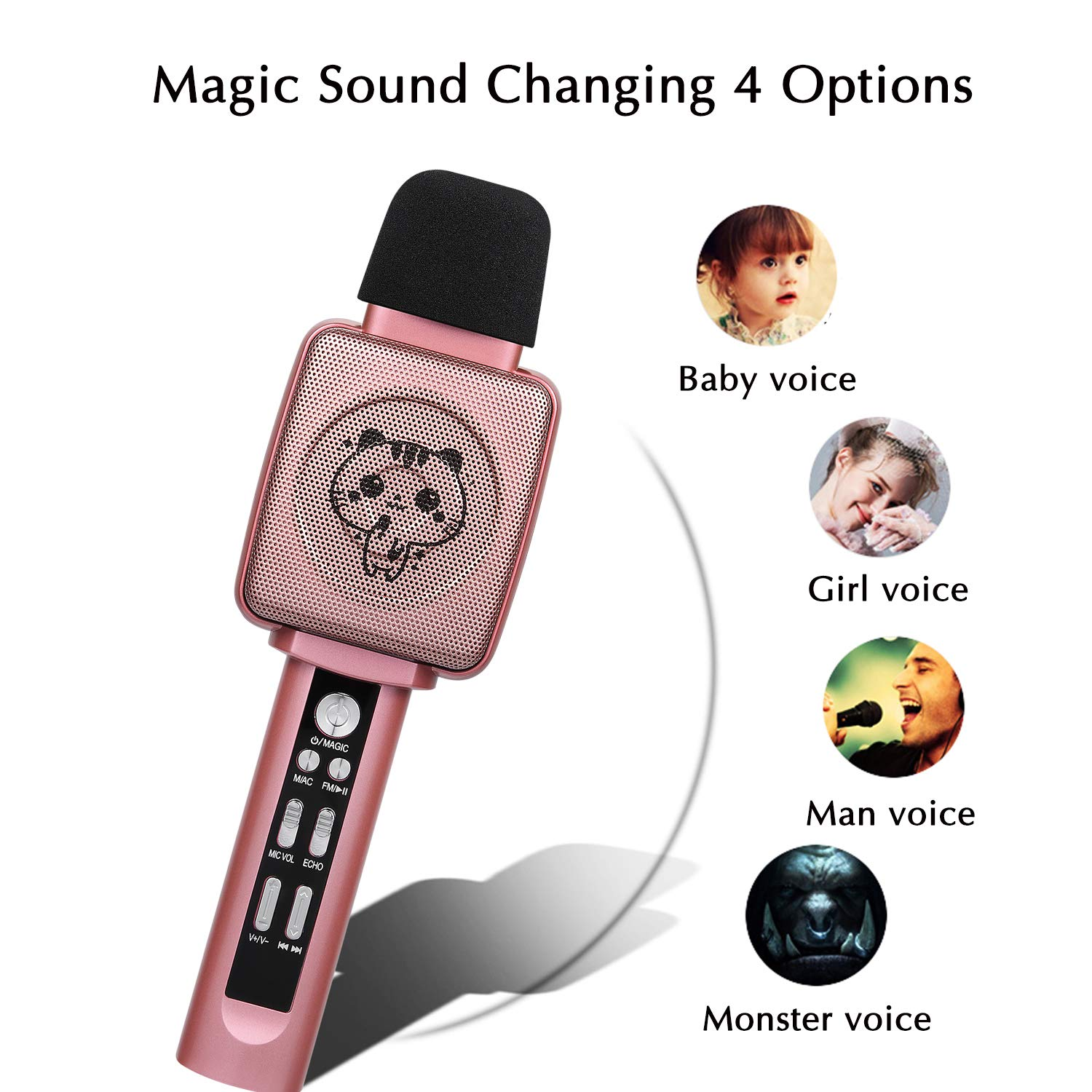 HOKLAN Kids Karaoke Microphone, Birthday Gifts for 3 4 5 6 7 8 9 Years Old Kids Girls, Birthday Presents & Toys for Children, Handheld Bluetooth Karaoke Machine with Voice Changer & Built-in Speaker by HOKLAN (Image #4)