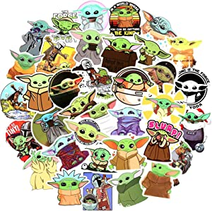 Stickers Pack for Baby Yoda - 50pcs Cool Sticker - Waterproof Bomb Stickers for Star Wars Fans - Decals for Computer Phone Car Hydro Flasks Guitar Luggage - Gift for Kids Adults Teen