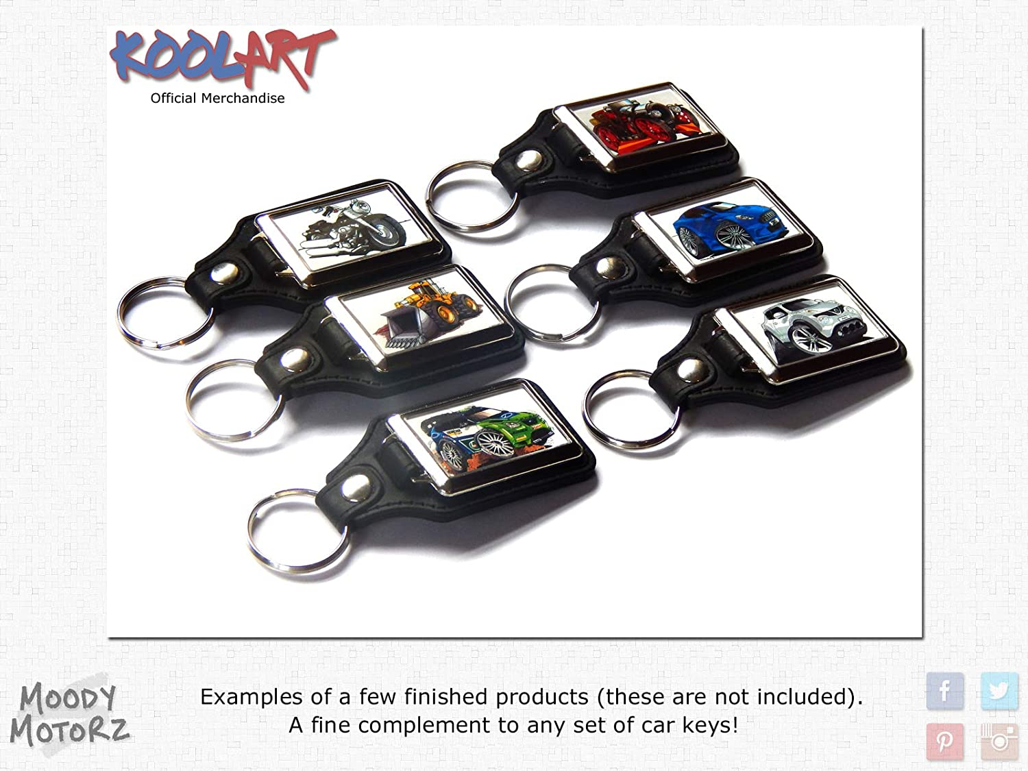 Koolart Cartoon Vito Van Commercial Vehicle Quality Leather and Chrome Keyring Choose a Colour Silver