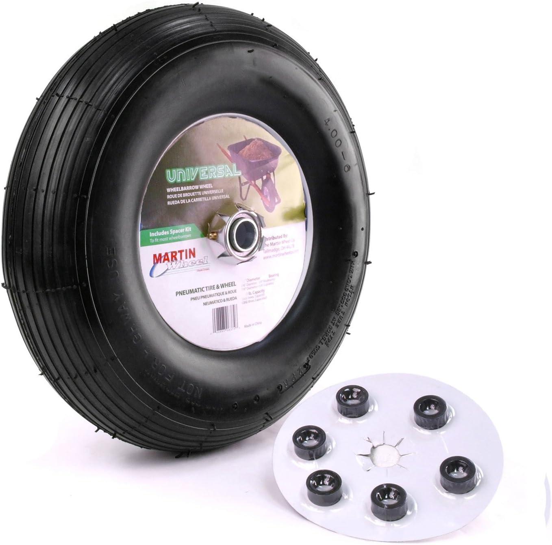 "Martin Wheel 400-6 13"" Pneumatic Wheelbarrow Wheel 6x5/8"" Hub"