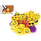 DSstyles EMOJ émotions Porte-clé en Peluche Petites Peluches Mignon Emoticône Décorations Smileys Emoticons Sac Pendentif Cadeau de Fête Noël Enfants (6cm, Lot de 18 Pièces)