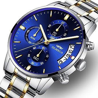 OLMECA Mens Watches Luxury Wristwatches Rhinestone Watches Waterproof Fashion Quartz Watches Women Watch Stainless Steel Watch