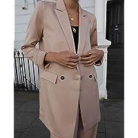 The Drop Women's @leoniehanne Beige Loose Double Breasted Silky Long Blazer