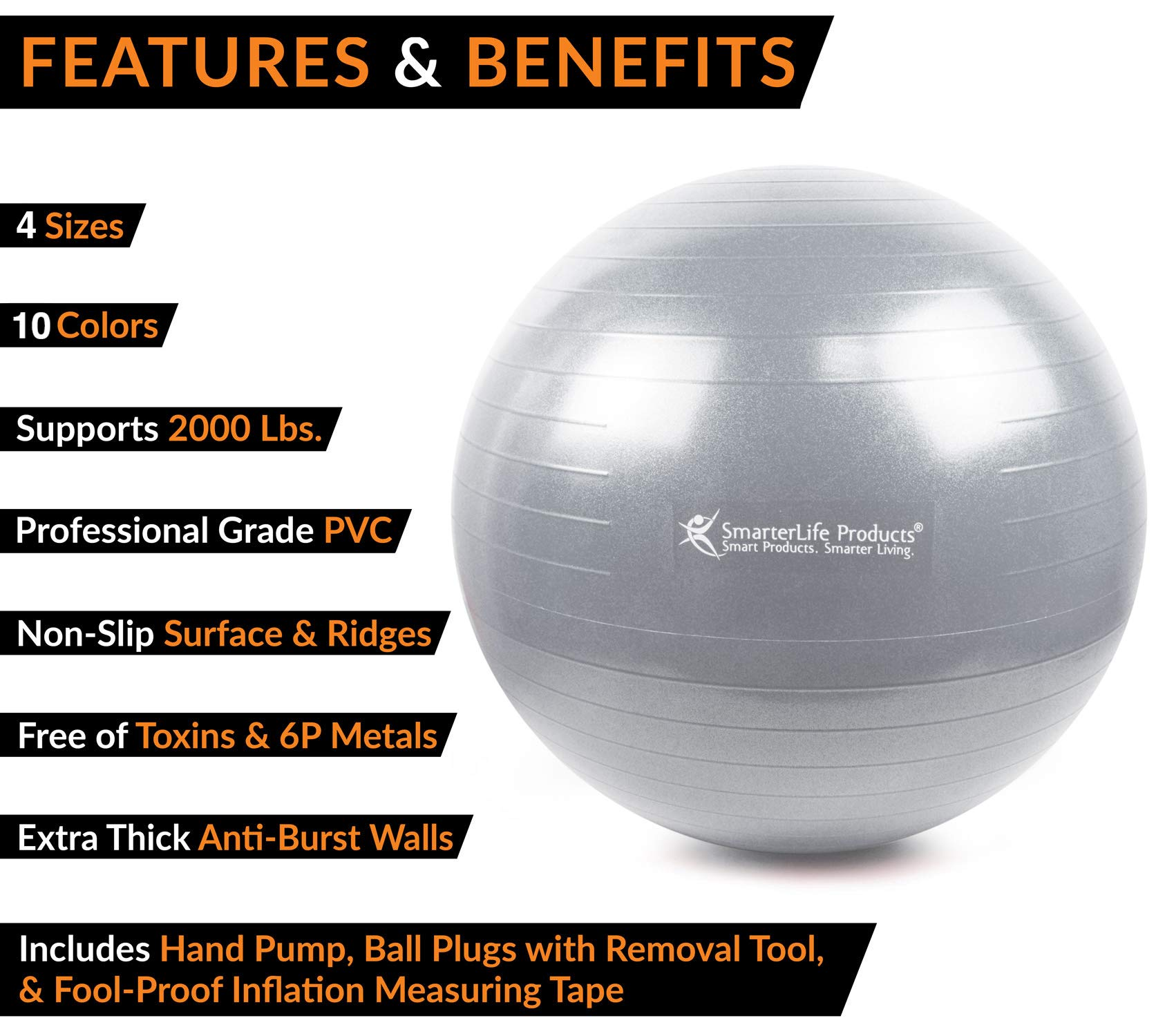 Exercise Ball for Yoga, Balance, Stability from SmarterLife - Fitness, Pilates, Birthing, Therapy, Office Ball Chair, Classroom Flexible Seating - Anti Burst, Non Slip + Workout Guide (Silver, 65cm) by SmarterLife Products (Image #3)