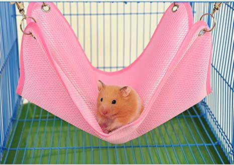 Keersi Hamaca de Malla Transpirable Cool para Colgar Cama Nido casa para Mascotas hámster, Rata