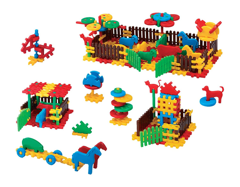 Baukasten 240 Bausteine Bauklötze Bauernhof Spielzeug für Kinder ab 2 Jahre Konstruktionsspielzeug Konstruktion Set Groß Karton XXL