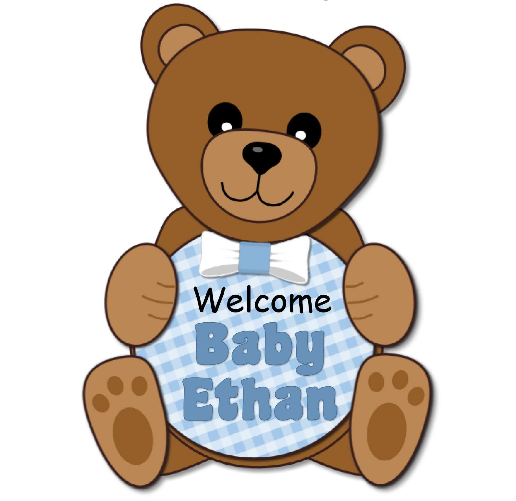 Personalized Teddy Bear Baby Shower Or Birthday Party Welcome Sign For Boy With Optional Decorations Banner Cake Topper Valentines