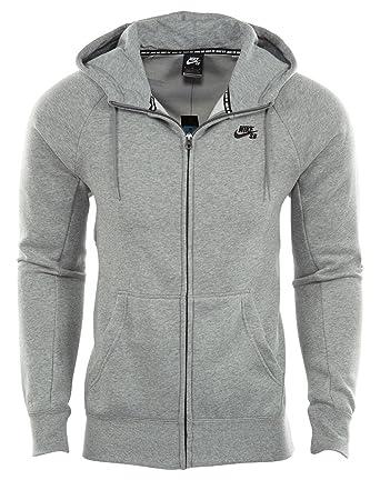 31ac0e47f5 NIKE Mens SB Icon Full Zip Sweatshirt Dark Grey Heather/Black 800149-063  Size