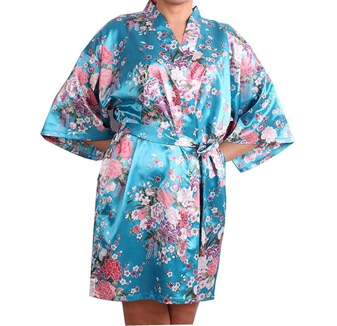 Damas Kimono Patrón Floral Sche Calentamiento Albornoz Especial ...