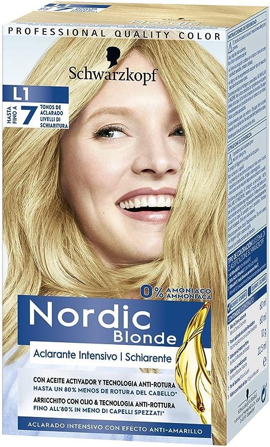 Schwarzkopf Nordic Blonde L1 Aclarante Intensivo, Coloración Permanente Sin Amoníaco, Aclara Hasta 7 Tonos, con Aceite Activador&Omegaplex, 3 Unidades
