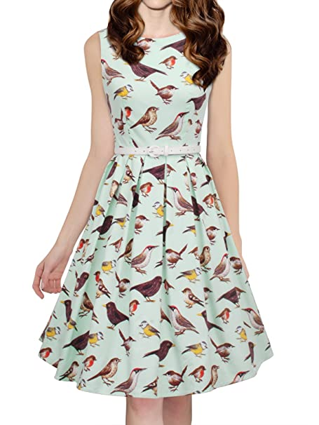 0695cca3aaf5 Luouse Women's Vintage 1950s Sleeveless Birds Print Cocktail Party Swing  Dresses: Amazon.ca: Clothing & Accessories