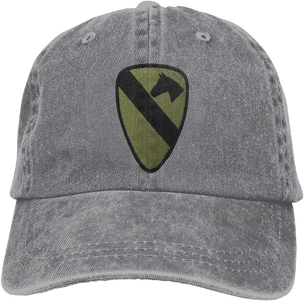 FISIDIMI CAP 1st Cavalry Division Unisex Embroidery Cotton Denim Hat Washed Retro Dad Cap