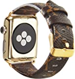 for Apple iWatch Leather Series 3 2 1 42mm Replacement Wristband Fashion Plaid Style Strap Wrist Band with Metal Gold Adapter Womens Men (Brown 42mm)