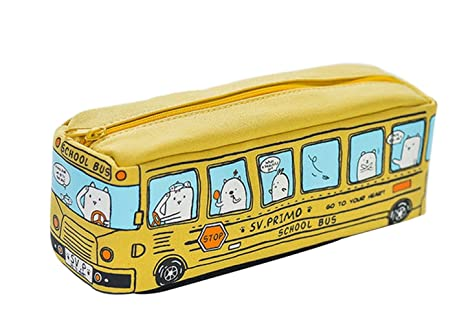 Scrox 1x Estuche para Lápices Canvas Lienzo Autobús Estuches Escolar Papelería Kawaii Dibujos Animados Coche Estuche Chico Escritorio Papelería ...