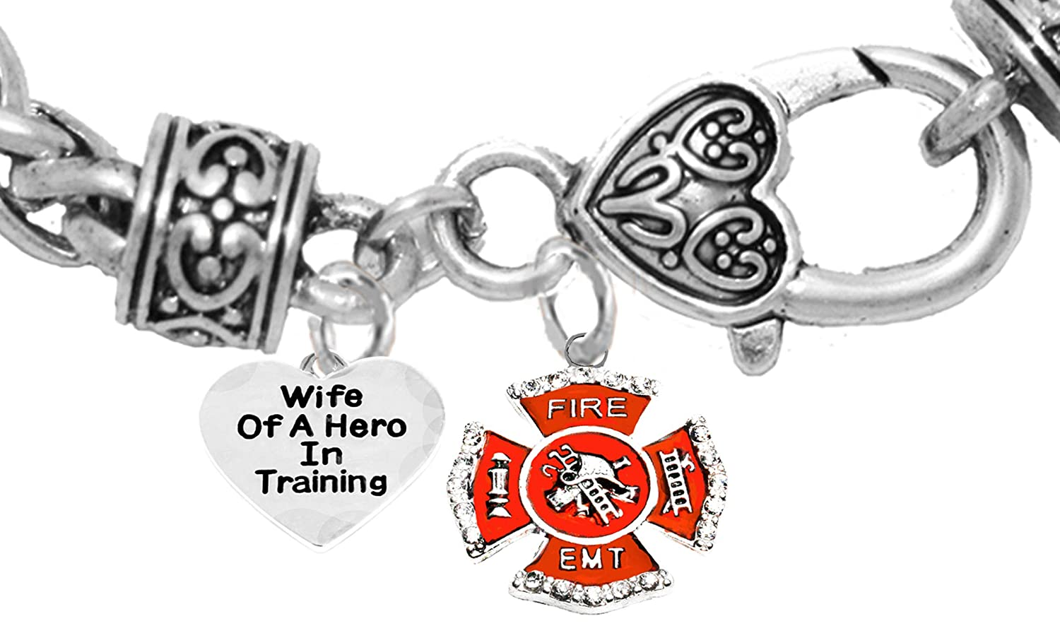 Firefighter,Wife of A Hero in Training Fire Department Charm On A Antique Wheat Chain Bracelet Lead and Cadmium Free Cardinali Jewelry EMT Hypoallergenic Safe-Nickel