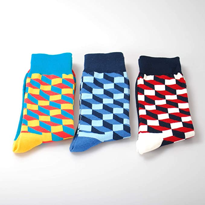 Amazon.com: Mens Happy Socks 27 Colors Striped Plaid Diamond Cherry Socks Men Combed Cotton Calcetines Largos Hombre,1: Clothing