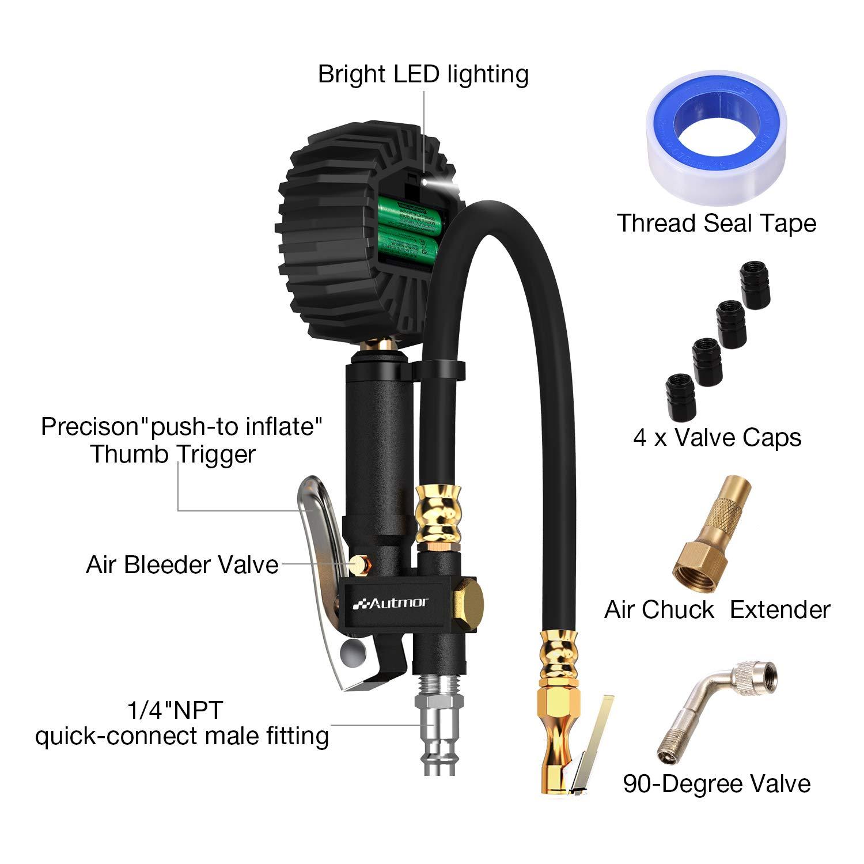 Autom/óviles 1//4 NPT Coche para Motocicleta Bicicleta 235PSI Man/ómetro Digital Resoluci/ón de Pantalla 0,1 Autmor Medidor de Presi/ón de Neum/áticos con Pantalla LCD