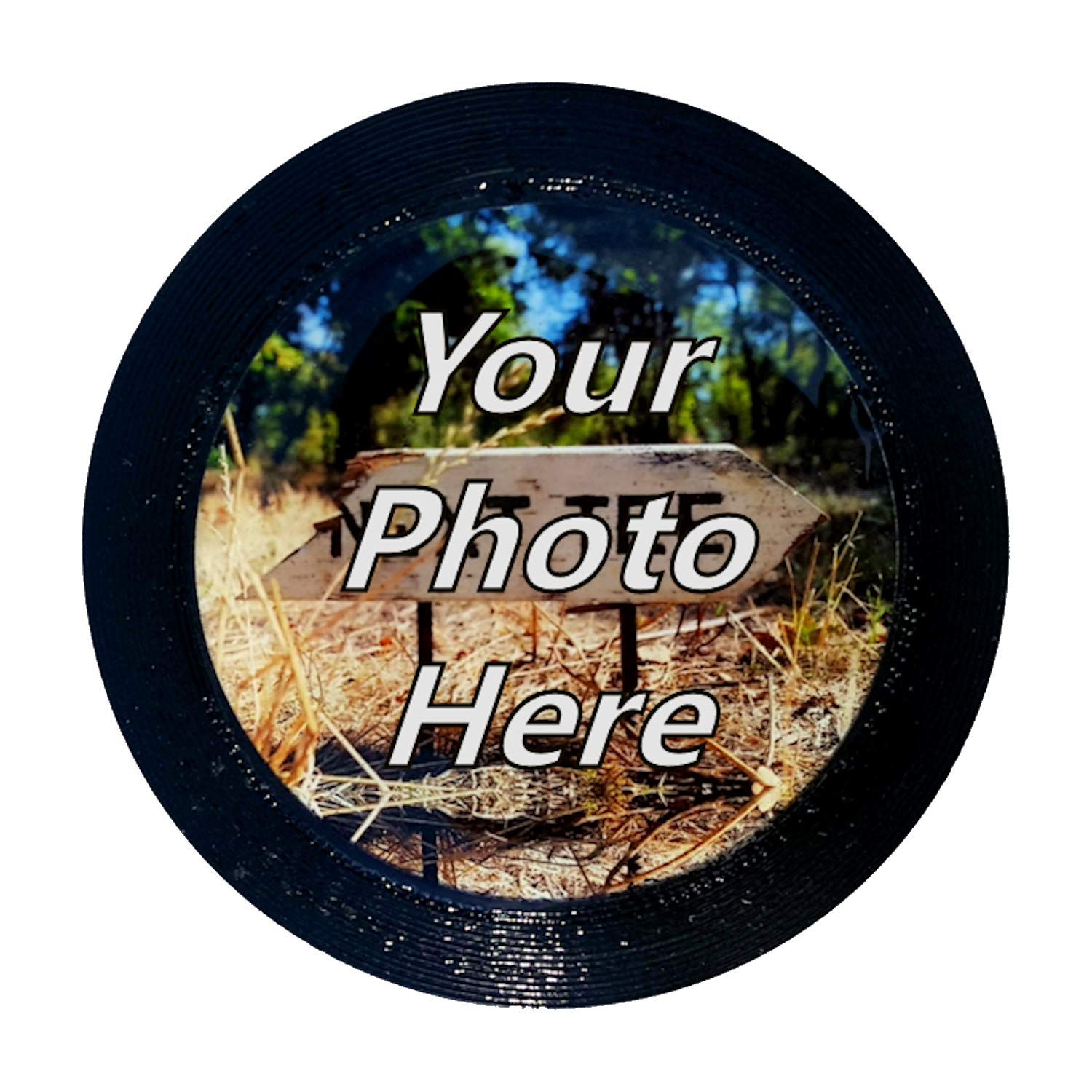 Disc Golf Mini Marker - Regulation Sized 2.875'' Diameter Epoxy Domed Mini Marker Customized with Your Photo or Logo (Black)
