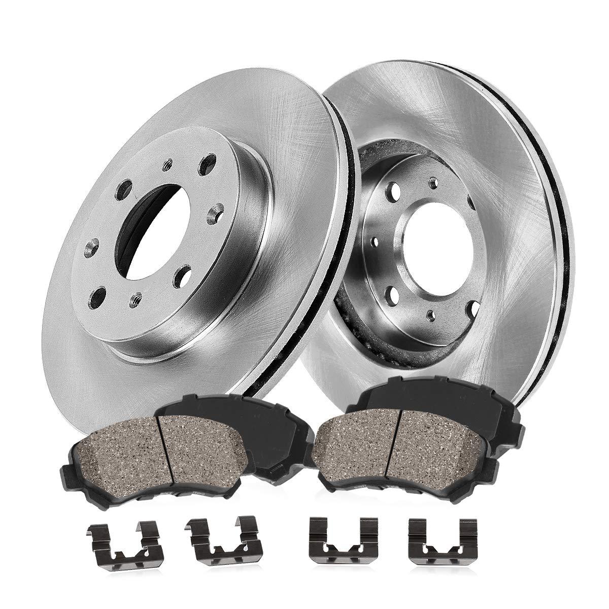 FRONT 255 mm Premium OE 4 Lug [2] Brake Disc Rotors + [4] Ceramic Brake Pads + Clips Callahan Brake Parts