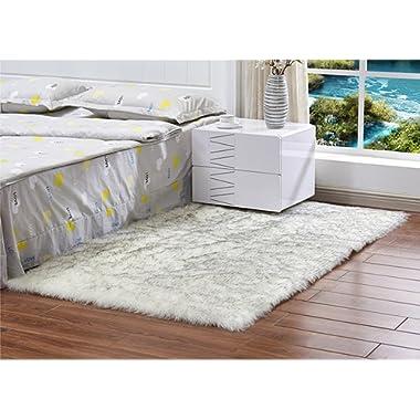 Meng Ge Soft Faux Sheepskin Chair Cover Seat Shaggy Area Rugs Fluffy Fuax Fur Shag Rug Carpet Grey Tip
