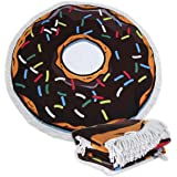 Large Round Picnic Mat Beach Towel Blanket with Tassels Ultra Soft Super Water Absorbent Multi-Purpose Towel 59 inch across Multifunctional Purposes Blanket, Wash machine easy wash (32 Choco Donut)