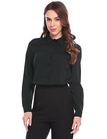 84b97b5d7 Zeagoo Womens Long Sleeve Office Work Cotton Blouse Button Down Shirts Tops,  Black, S