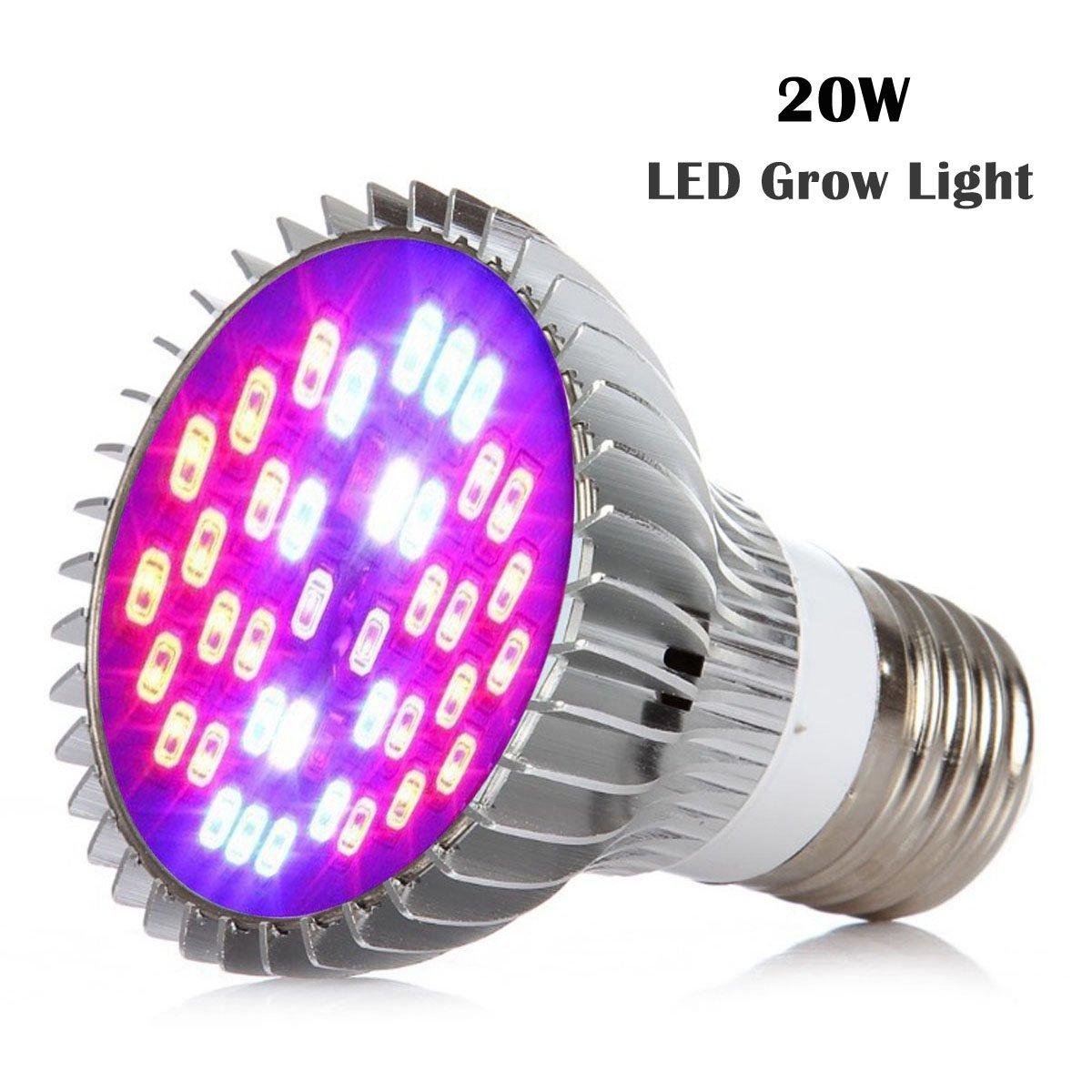 Sumchimamzuk Vollspektrum Pflanzenlampe LED Wachstumslampe mit 20W 40 LEDs Pflanzenleuchte Pflanzenlicht kompatibel mit Standard E26 / E27 Buchsen [Energieklasse A]