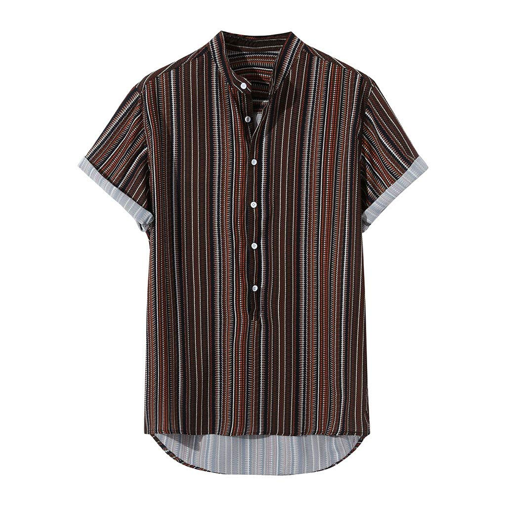 TEVEQ Mens T-Shirts Multi Color Lump Chest Pocket Short Sleeve Round Hem Loose Shirts Blouse Wine Red by TEVEQ-shirt