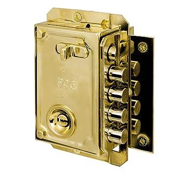 Fac seguridad s-90p - Cerradura sobreponer derecha dorado: Amazon.es: Bricolaje y herramientas